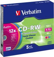 Photo de CD-RW Verbatim 700 Mo 4X (Boite Slim couleur de 5)