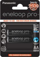 Photo de Pack blister de 2 piles rechargeables Panasonic Eneloop Pro type AA 1,2V - 2500 mAh (R06)