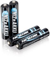 Photo de Pack blister de 4 piles NiZn rechargeables Ansmann type AAA 1,2V - 900 mAh (R03)