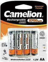 Photo de Pack blister de 4 piles rechargeables Camelion type AA 1,2V - 2700 mAh (R03)