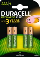 Photo de Pack blister de 4 piles rechargeables Duracell Duralock type AA 1,2V - 2400 mAh (R06)