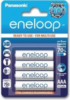 Photo de Pack blister de 4 piles rechargeables Panasonic Eneloop type AAA 1,2V - 750 mAh (LR3)